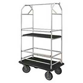 Glaro Bellman Condo Cart 48x25 Satin Aluminim Black Carpet, 4 Rubber Wheels