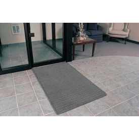"""Rubber Backed Barrier Rib Entrance Mat 4 Wide Up To 60ft 3/8"""" Thick Gray"""