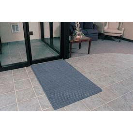 "Rubber Backed Barrier Rib Entrance Mat 4 Wide Up To 60ft 3/8"" Thick Slate Blue"