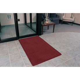 """Rubber Backed Barrier Rib Entrance Mat 4 Wide Up To 60ft 3/8"""" Thick Burgundy"""