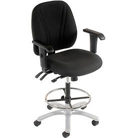 Manager Stool With Arms - Fabric - 360° Footrest - Black