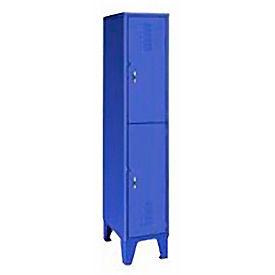 Extra Wide Welded Steel Lockers Double Tier 18x18x72 Blue
