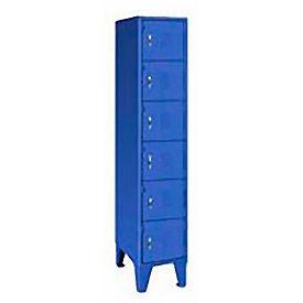 Pucel Extra Wide Welded Steel Lockers Six Tier 18x18x72 Blue