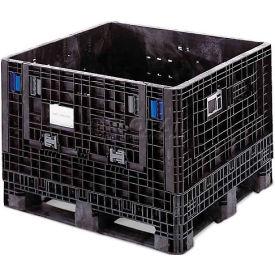 ORBIS BulkPak KD4845-34 Folding Bulk Shipping Container 48 x 45 x 34 1500 lb Capacity Black