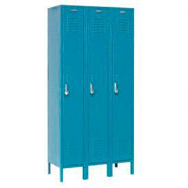 Extra Wide Single Tier Locker 15x18x72 3 Door Pull Latch Ready to Assemble Blue