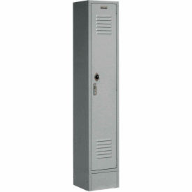 Extra Wide Single Tier Locker 15x18x72 1 Door Pull Latch Assembled Gray