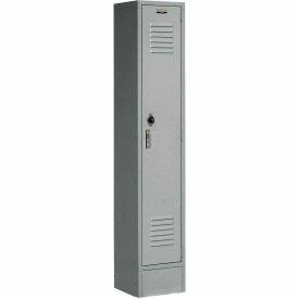 Extra Wide Single Tier Locker 15x18x72 1 Door Pull Latch Assembled Gray