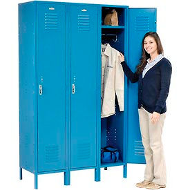 Extra Wide Single Tier Locker 15x18x72  3 Door Pull Latch Assembled Blue