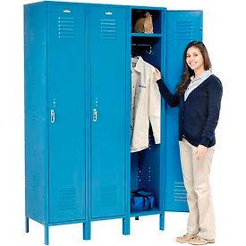 Extra Wide Single Tier Locker 15x18x72  3 Door Pull Latch Assembled Blue