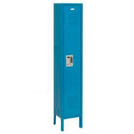 Extra Wide Single Tier Locker 15x18x72 1 Door Recessed Assembled Blue