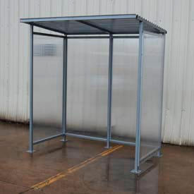 "Bus Smoking Shelter Flat Roof With Three Sided Open Front 75-1/4""W x 49-5/16""D x 83-15/16""H"