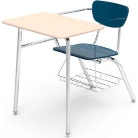 Virco® 3400br Martest Chair Desk - Full Top, Navy Seat/Sandstone Top - Pkg Qty 2