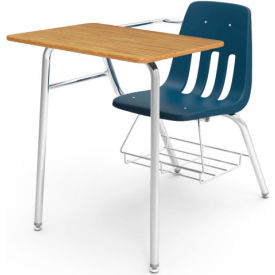 Virco® 9400br Classic Chair Desk-Med Oak Full Top/Navy Seat/Chrome Frame - Pkg Qty 2