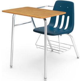 Virco® 9400br Classic Chair Desk-Med Oak Full Top/Navy Seat/Chrome Frame - Pkg Qty 2