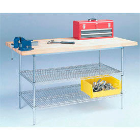"60"" W x 30"" D Wire Stationary Workbench, Maple Butcher Block Square Edge"