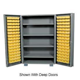 "Jamco Bin Cabinet GM260KD - 14 ga. Welded with 170 Bins And Shelves Flush Door, 60""Wx24""Dx78""H"