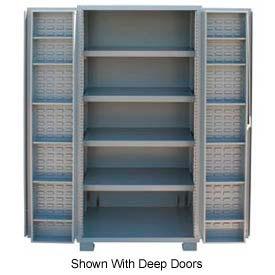 """Jamco Bin Cabinet GR260KV - 14 Gauge Welded with Louvered Panels And Shelves Flush Door, 60"""" W"""