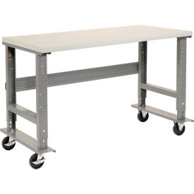 "60""W x 36""D Mobile Workbench - Plastic Laminate Square Edge - Gray"