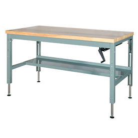 Work Bench Systems Adjule Height 60 X 30 Hydraulic Ergonomic Workbench Maple Top 249363 Global