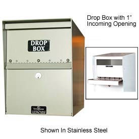 "Heavy Duty Drop Box Locker 2"" Incoming Slot No Envelope Slot Gray"