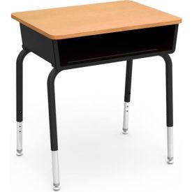 Virco® 785 Open Front Desk - Maple Laminate Top/Black Book Box/Black Frame - Pkg Qty 2