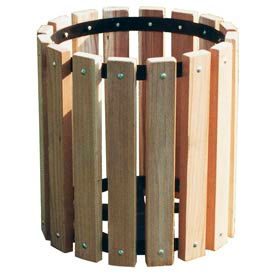 Untreated Wood Garbage Can - 32 Gallon
