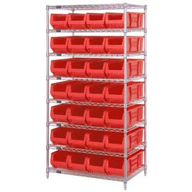 """Quantum WR8-950 Chrome wire Shelving With 28 24""""D Hopper Bins Red, 24x36x74"""