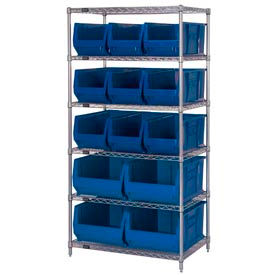 "Quantum WR6-953954 Chrome wire Shelving With 13 24""D Hopper Bins Blue, 24x36x74"