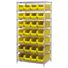 "Quantum WR8-970 Chrome wire Shelving With 28 30""D Hopper Bins Yellow, 30x36x74"