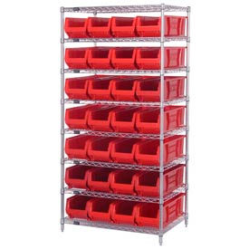 "Quantum WR8-970 Chrome wire Shelving With 28 30""D Hopper Bins Red, 30x36x74"