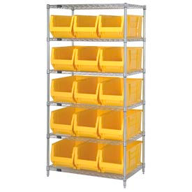 "Quantum WR6-973 Chrome wire Shelving With 15 30""D Hopper Bins Yellow, 30x36x74"