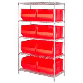 """Quantum WR5-975 Chrome wire Shelving With 8 30""""D Hopper Bins Red, 30x42x74"""