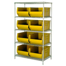 "Quantum WR5-993 Chrome Wire Shelving With 8 36""D Hopper Bins Yellow, 36x36x86"