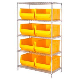 "Quantum WR5-995 Chrome Wire Shelving With 8 36""D Hopper Bins Yellow, 36x48x86"