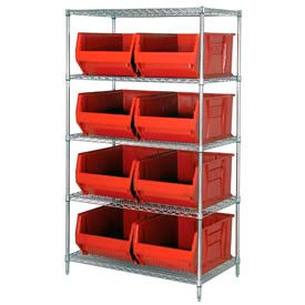 """Quantum WR5-997 Chrome Wire Shelving With 8 36""""D Hopper Bins Red, 36x48x86"""
