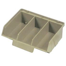 "Quantum Plastic Stack And Lock Bin QCS320 with ID Tab-3 Compartments 8-7/8""W x 7""D x 2-7/8""H Ivory - Pkg Qty 24"