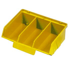 "Quantum Plastic Stack And Lock Bin QCS320 with ID Tab-3 Compartments 8-7/8""W x 7""D x 2-7/8""H Yellow - Pkg Qty 24"
