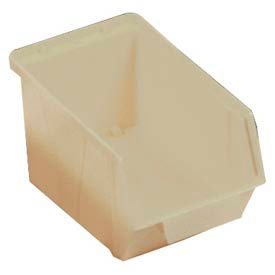 "Quantum Plastic Stack And Lock Bin QCS30 with ID Tab 5-7/8""W x 10-14""D x 5-1/8"" Ivory - Pkg Qty 12"