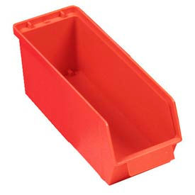 "Quantum Plastic Stack And Lock Bin QCS35 with ID Tab 4-5/8""W x 14""D x 4-7/8""H Red - Pkg Qty 12"