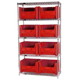 Quantum WR5-700 Chrome Wire Shelving With 8 Giant Hopper Bins Red, 18x42x74