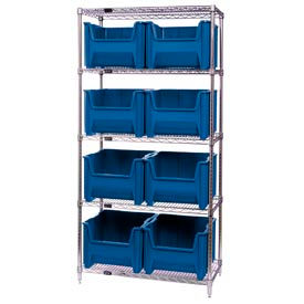 Quantum WR5-800 Chrome Wire Shelving With 8 Giant Hopper Bins Blue, 18x36x74