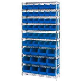 Chrome Wire Shelving With 48 Giant Plastic Stacking Bins Blue, 36x14x74
