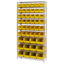 Chrome Wire Shelving With 48 Giant Plastic Stacking Bins Yellow, 36x14x74