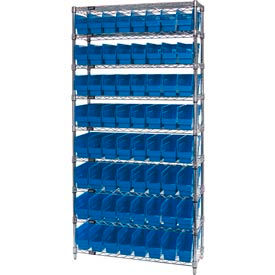"Quantum WR9-201 Chrome Wire Shelving with 64 6""H Plastic Shelf Bins Blue, 36x12x74"
