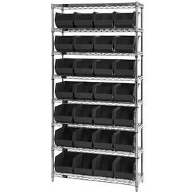Chrome Wire Shelving With 28 Giant Plastic Stacking Bins Black, 36x14x74