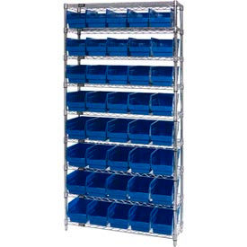 "Quantum WR9-204 Chrome Wire Shelving with 40 6""H Plastic Shelf Bins Blue, 36x18x74"