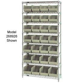 Quantum WR7-245 Chrome Wire Shelving With 24 Giant Plastic Stacking Bins Ivory, 36x12x74