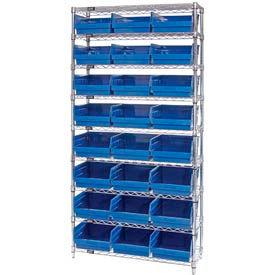 "Quantum WR9-210 Chrome Wire Shelving with 24 6""H Plastic Shelf Bins Blue, 36x18x74"