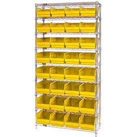 "Quantum WR9-214 Chrome Wire Shelving with 32 6""H Plastic Shelf Bins Yellow, 36x24x74"