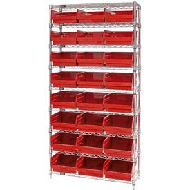 "Quantum WR9-210 Chrome Wire Shelving with 24 6""H Plastic Shelf Bins Red, 36x18x74"
